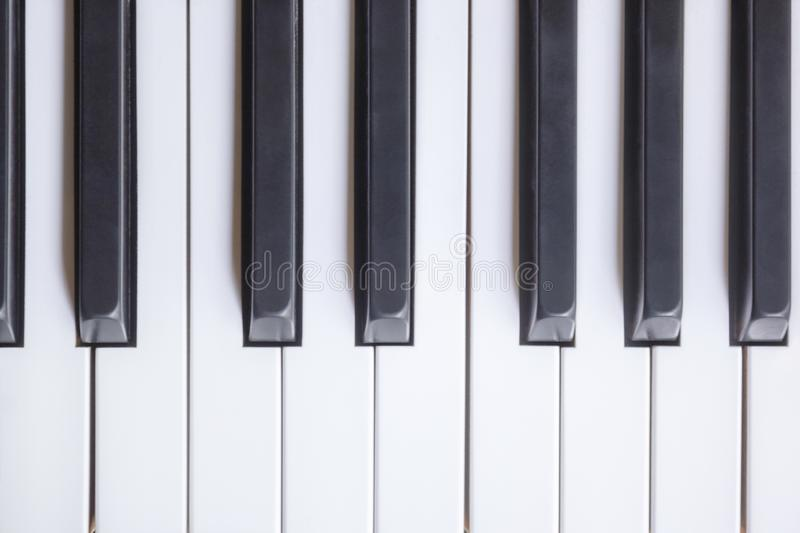 Piano Keys Viewed From Above, Flat Top View.  royalty free stock images