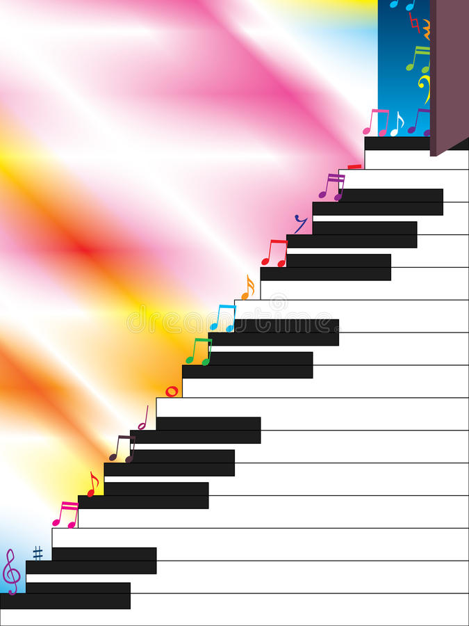 Piano Ladder Open Music Step. Illustration of open door, music step on piano ladder. Left side and white piano place is your sample text. --- This .eps file info vector illustration