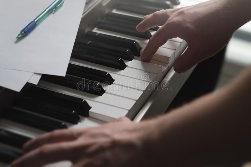 Piano lessons, coaching, teaching or training concept. stock photo