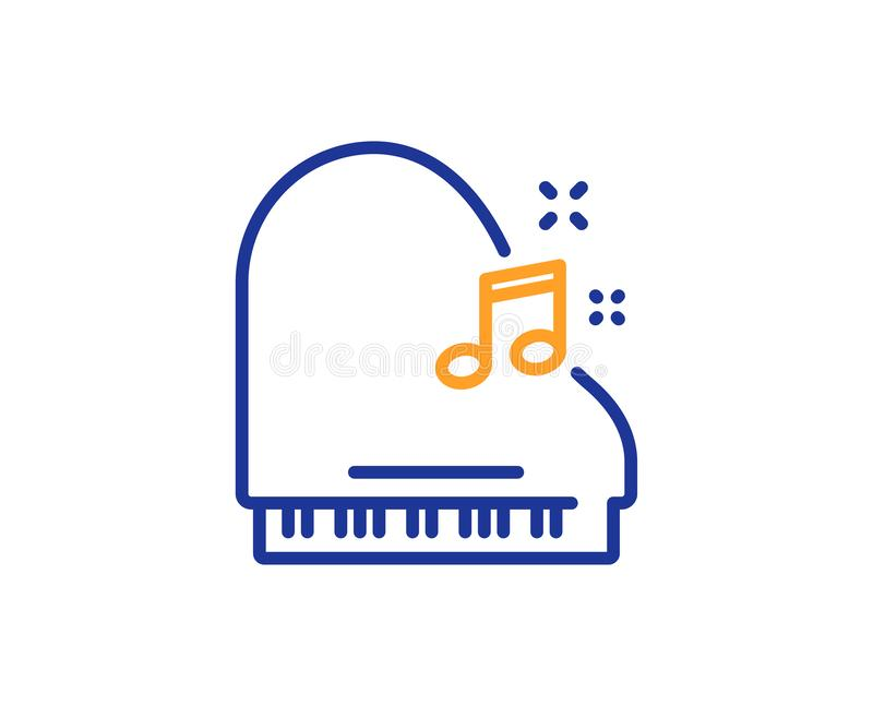Piano line icon. Musical instrument sign. Vector. Piano line icon. Musical instrument sign. Music note symbol. Colorful outline concept. Blue and orange thin stock illustration