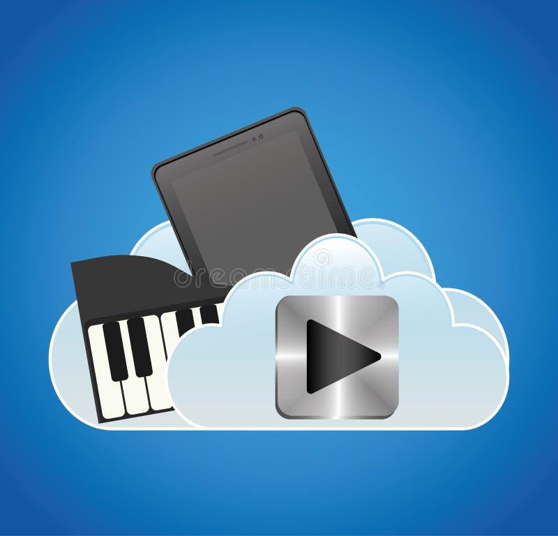 piano móvel da nuvem do smartphone da música ilustração royalty free