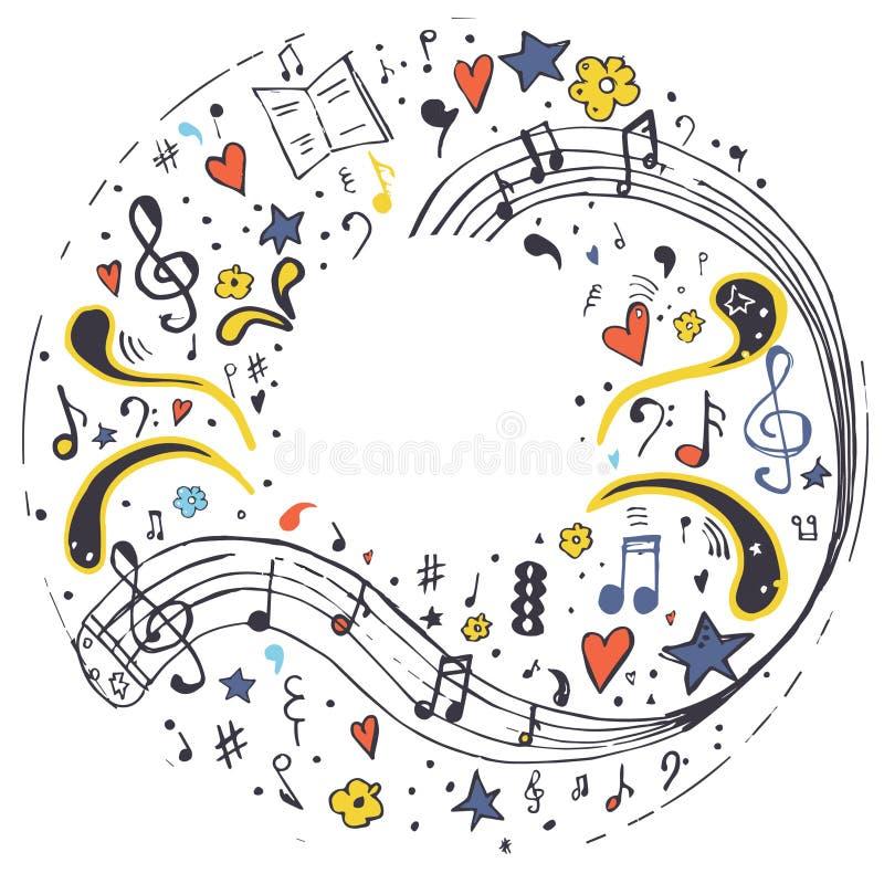 Piano M?sica nota M?o desenhada imagem de stock royalty free