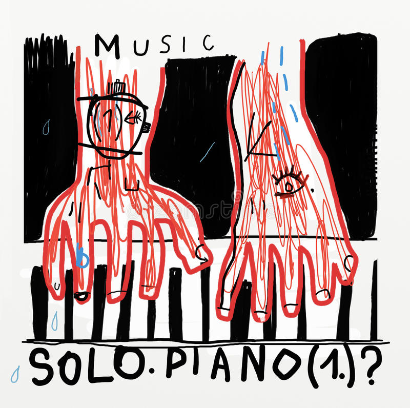 Piano. A man with red hands plays the piano royalty free illustration