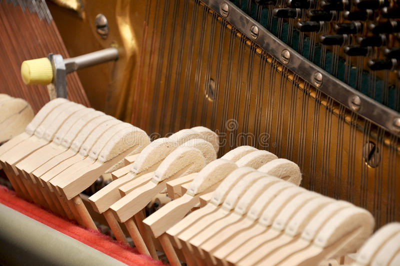 Piano mechanism stock photo