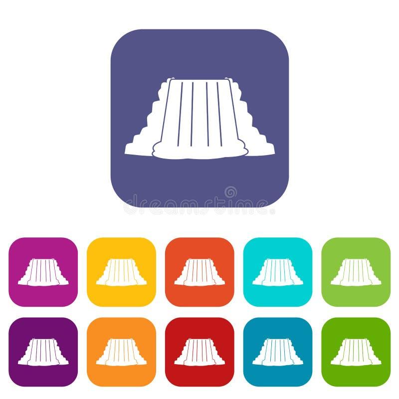 Piano messo icone di cascate del Niagara royalty illustrazione gratis