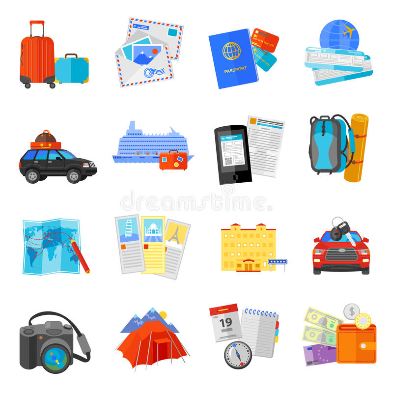 Piano messo icone di viaggio di vacanza illustrazione vettoriale