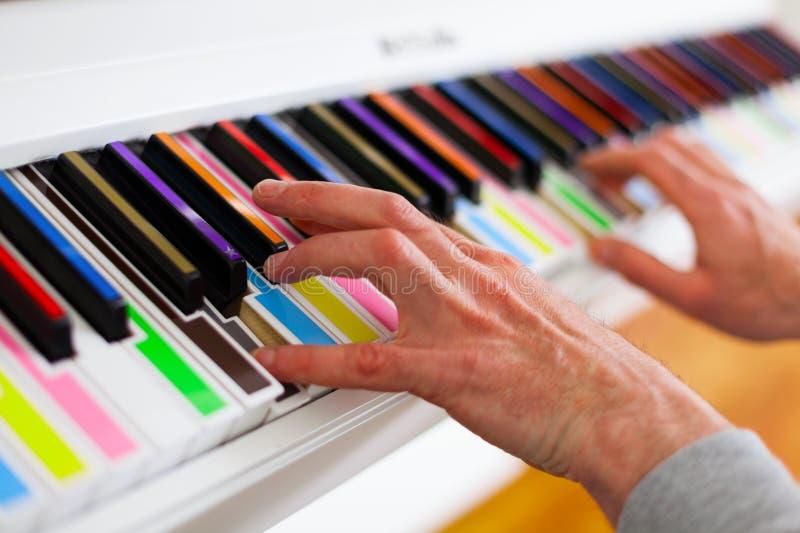 Piano met multy kleurencodes Sluit omhoog royalty-vrije stock afbeeldingen