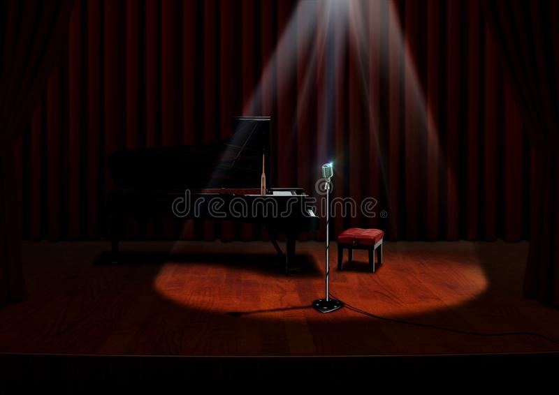 Piano and Microphone under spotlight. With Red Curtains vector illustration