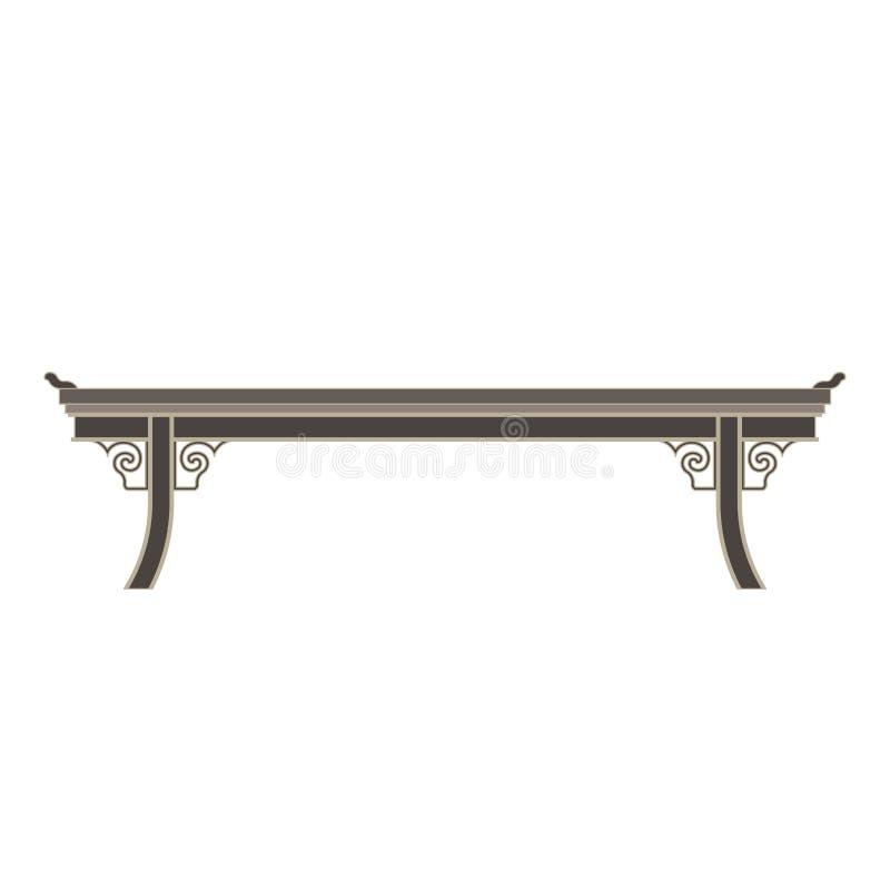 Piano monocromatico cinese di vista laterale della tavola nel tema grigio di colore royalty illustrazione gratis