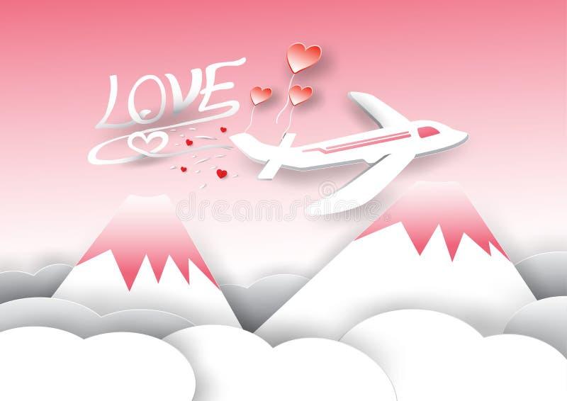 Piano, montagne e nuvole nel tema di San Valentino immagini stock