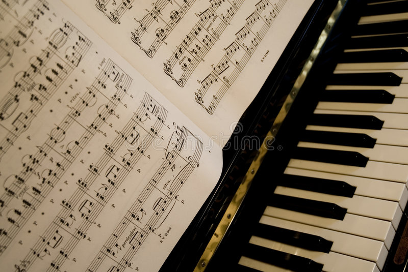 Piano music. Piano with music to play royalty free stock photography