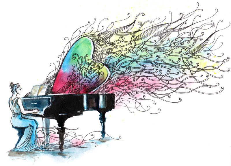 Piano music royalty free illustration