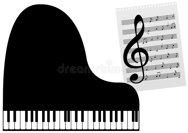 A piano and a music-sheet. Illustration of a piano and a music-sheet vector illustration