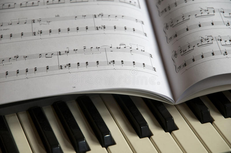 Piano and music sheet stock image