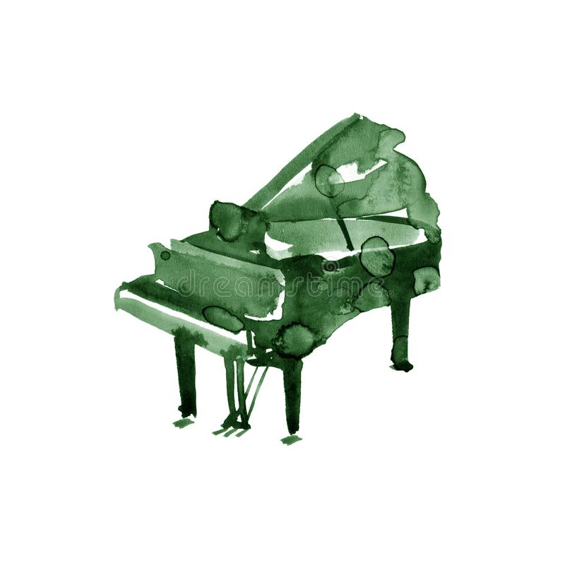 Piano. Musical instruments. Isolated on white background. Watercolor illustration royalty free illustration