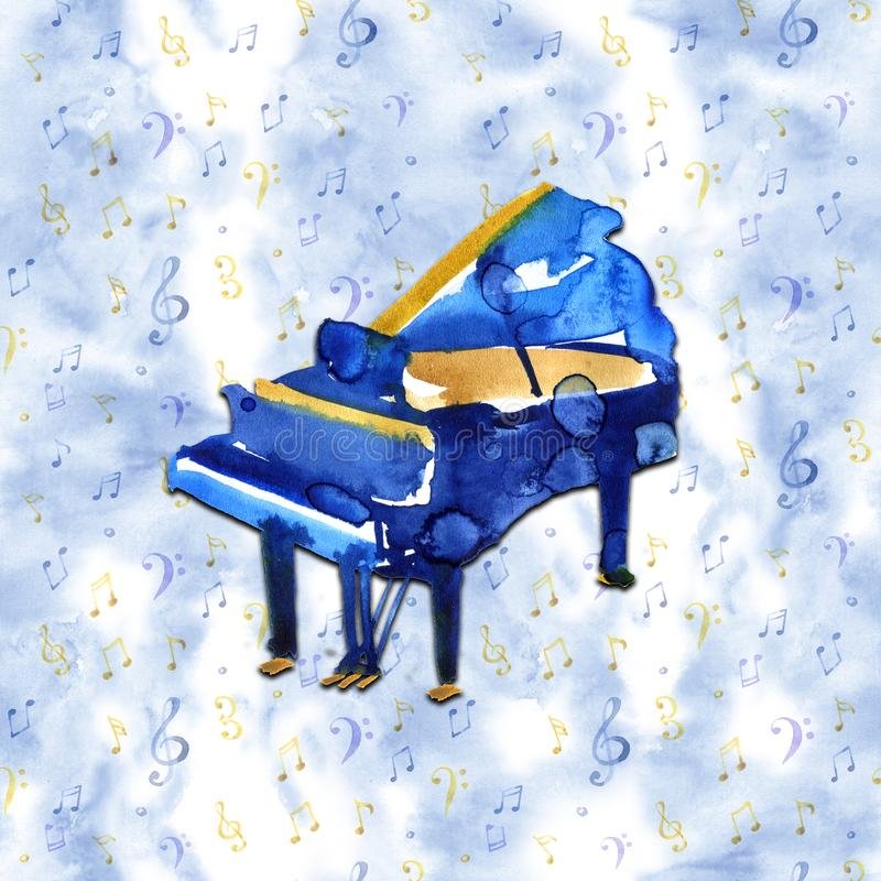 Piano. Musical instruments. Isolated on blue background. Watercolor illustration royalty free illustration