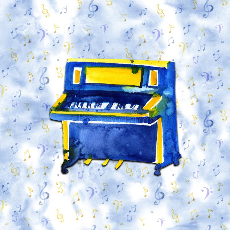 Piano. Musical instruments. Isolated on blue background. Watercolor illustration vector illustration