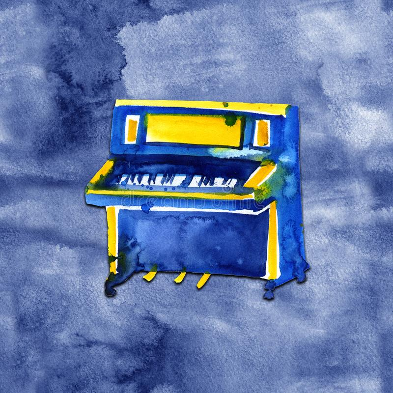 Piano. Musical instruments. Isolated on blue background. Watercolor illustration stock illustration