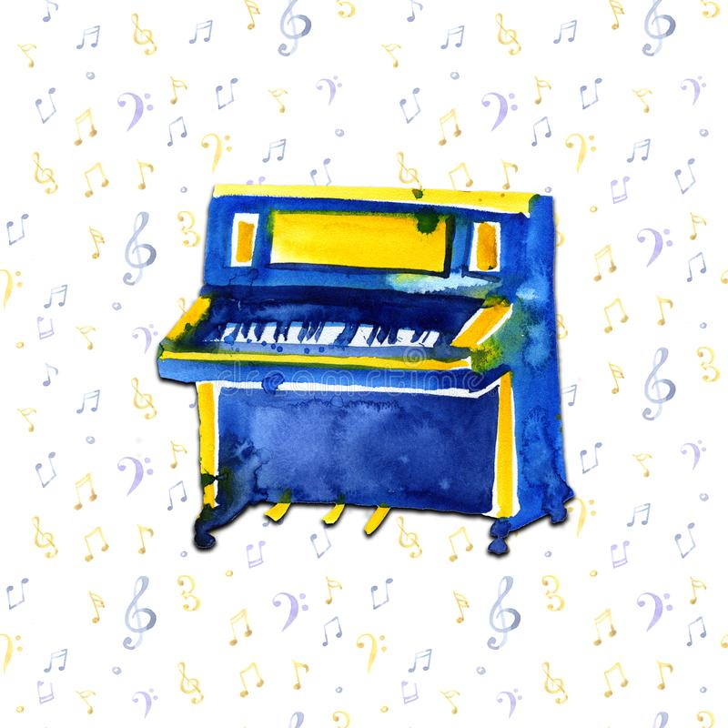 Piano. Musical instruments. Isolated on notes background. Watercolor illustration stock illustration