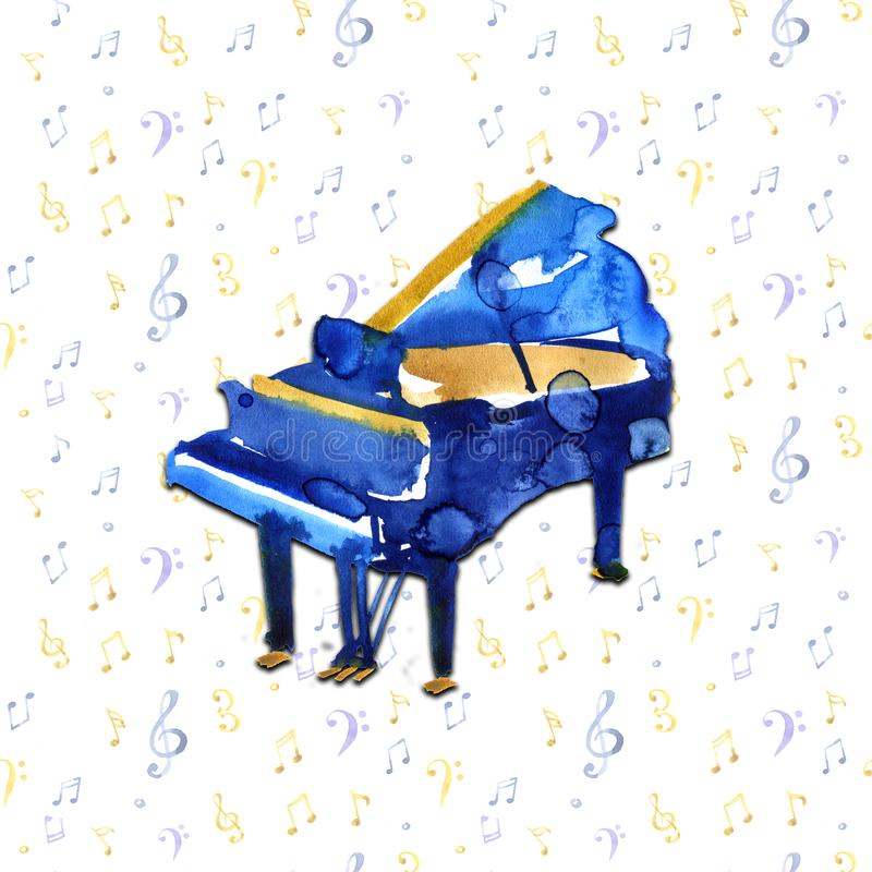 Piano. Musical instruments. Isolated on notes background. Watercolor illustration royalty free illustration