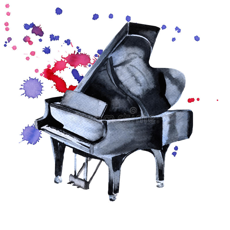 Piano. Musical instruments. Isolated on white background. n royalty free illustration
