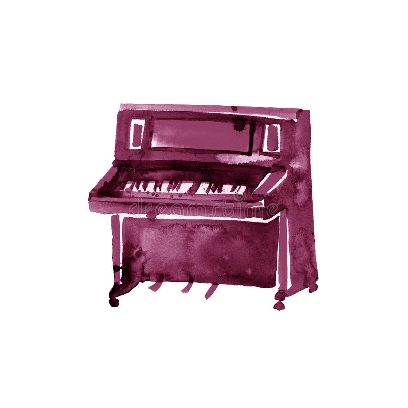 Piano. Musical instruments. Isolated on white background. Watercolor illustration. Maroon, burgundy, claret, vinous royalty free illustration