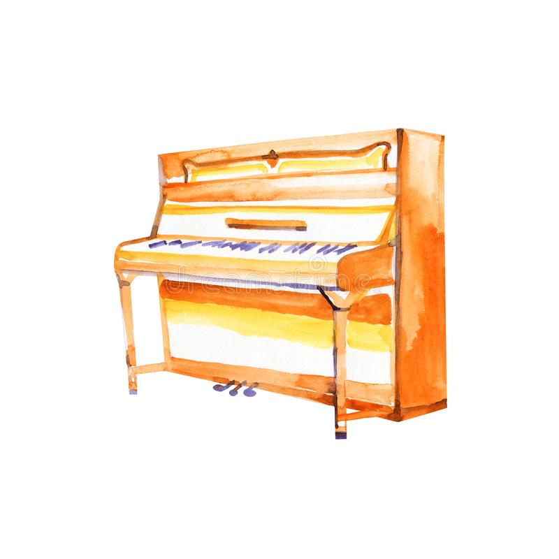 Piano. Musical instruments. Isolated on white background. Watercolor illustration. royalty free illustration