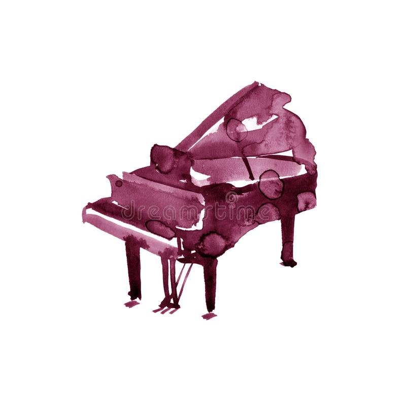 Piano. Musical instruments. Isolated on white background. Watercolor illustration. Maroon, burgundy, claret, vinous stock illustration