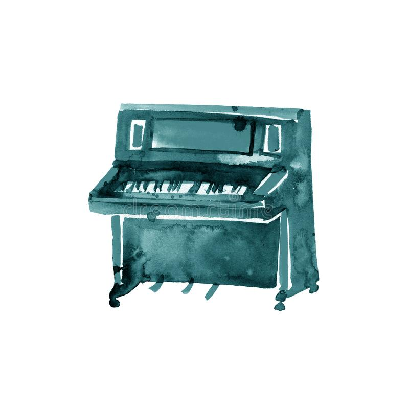 Piano. Musical instruments. Turquoise isolated on white background. Watercolor illustration stock illustration