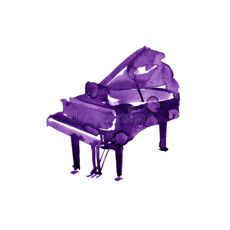Piano. Musical instruments. Violet Isolated on white background. Watercolor illustration stock illustration