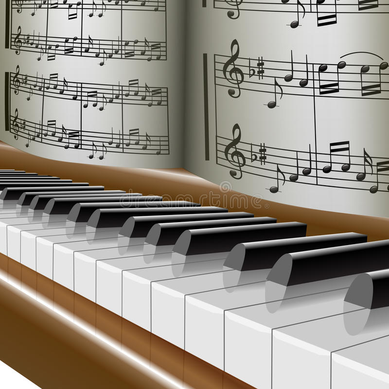 Piano-muziek nota-melodie stock illustratie