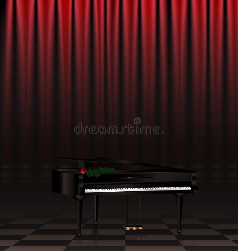piano negro y escena stock de ilustración