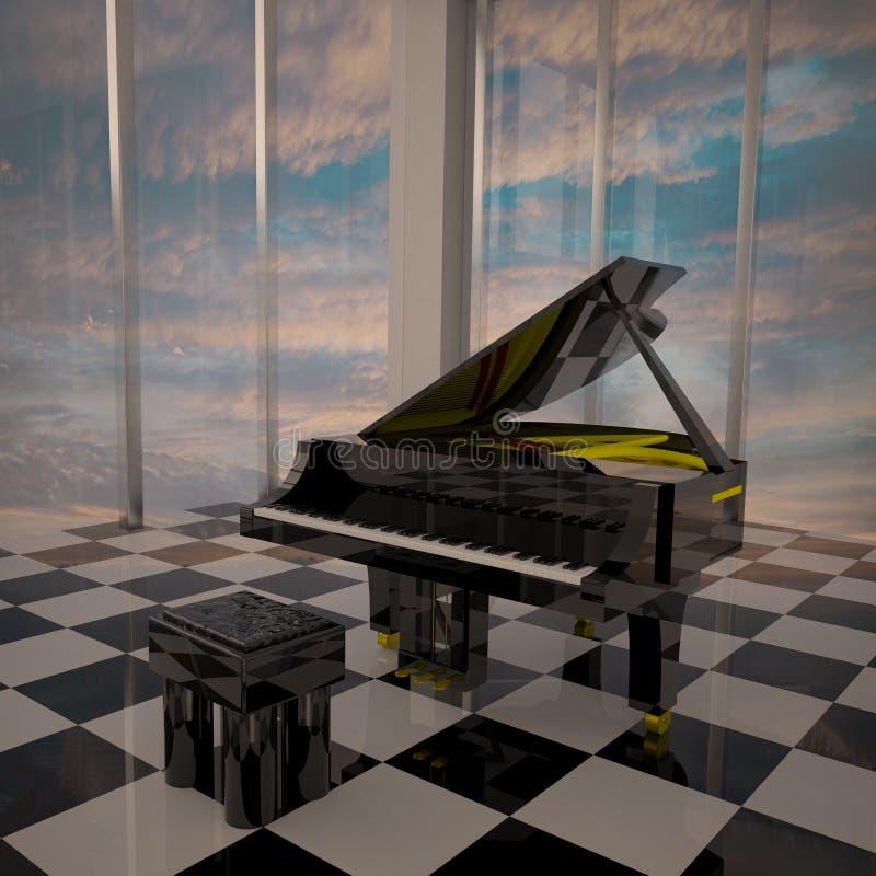 Piano nella stanza elegante con le grandi finestre illustrazione vettoriale
