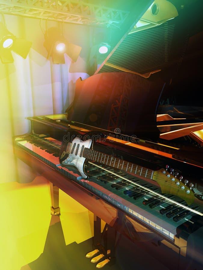 Piano och gitarr som är klara för showen royaltyfri illustrationer