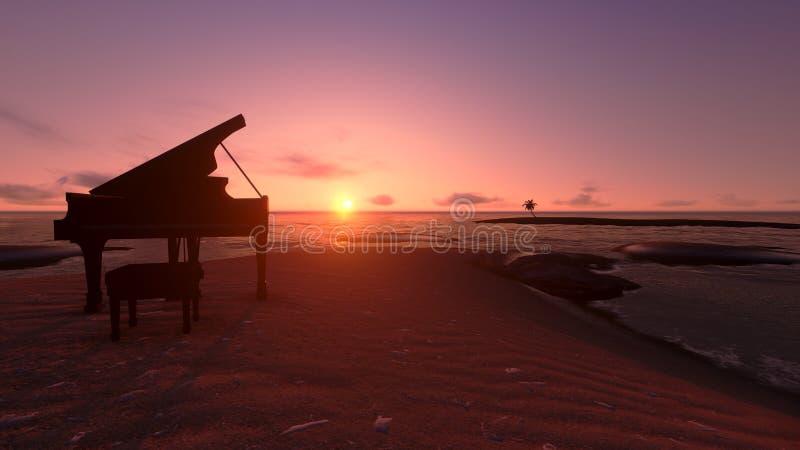 Piano op het strand royalty-vrije illustratie