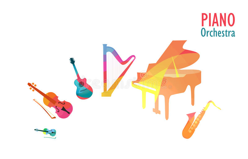 Piano Orchestra, Set of Music Instruments vector illustration
