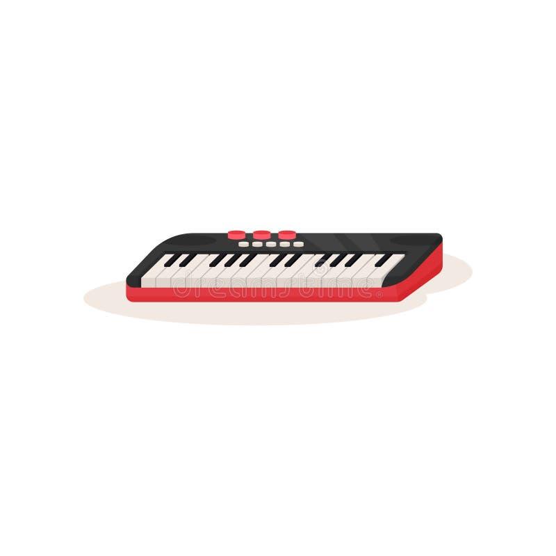 Piano ou sintetizador bonde Instrumento musical com teclado preto e branco Elemento liso do vetor para anunciar ilustração do vetor
