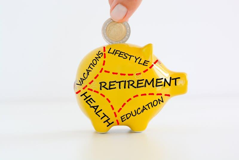 Piano pensionistico o concetto di risparmio fotografia stock