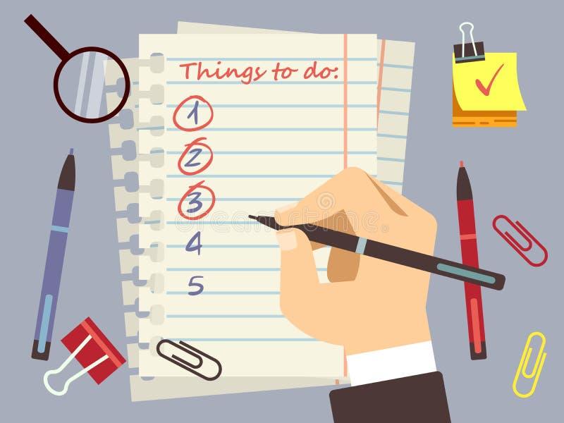 Piano per fare vettore della pagina e della cancelleria della lista illustrazione di stock