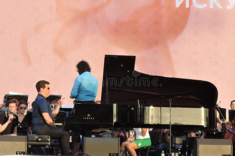 Piano player Denis Matsuev performs on stage stock images