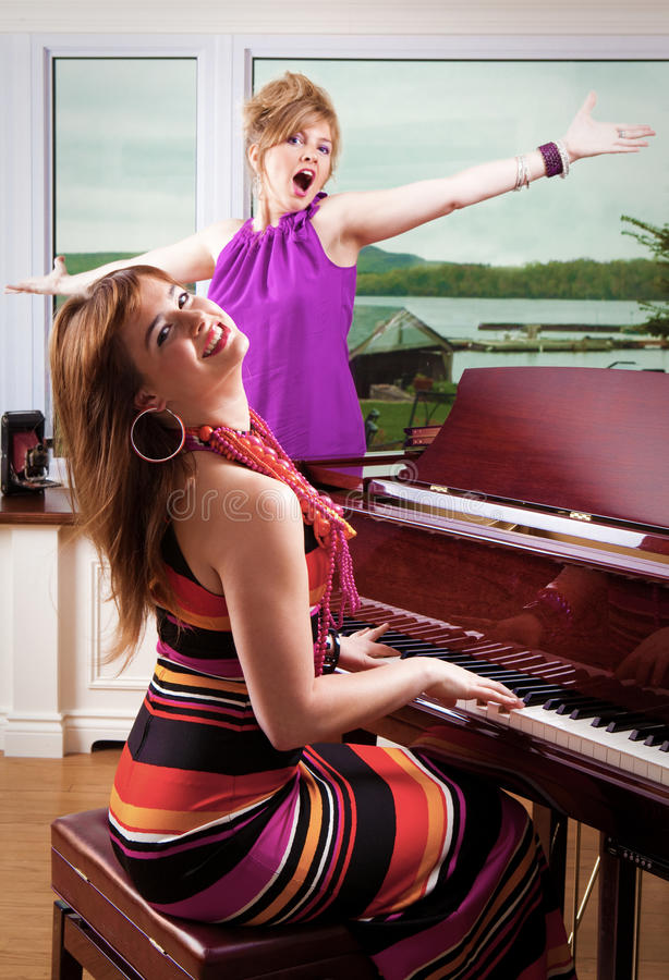 Piano Player and Singer. Performing stock photo