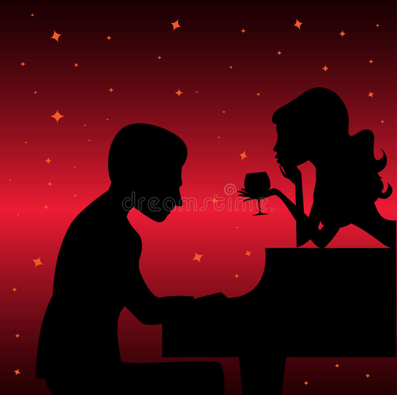 Piano player with woman. Vector background vector illustration