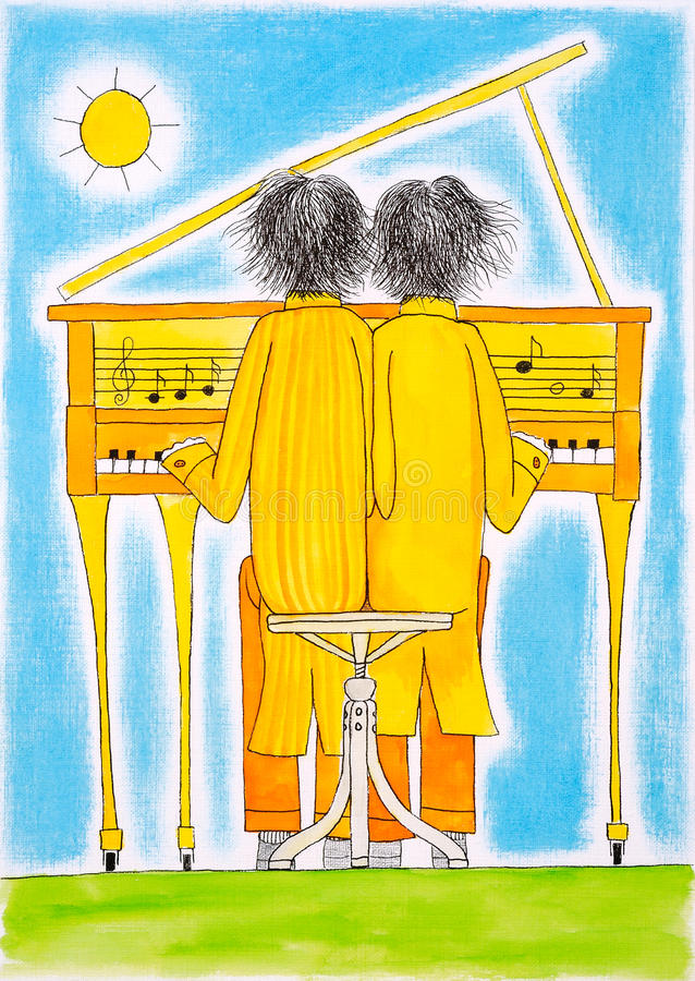 Download Piano Players, Gemini, Child's Drawing, Watercolor Painting Royalty Free Stock Image - Image: 29793016