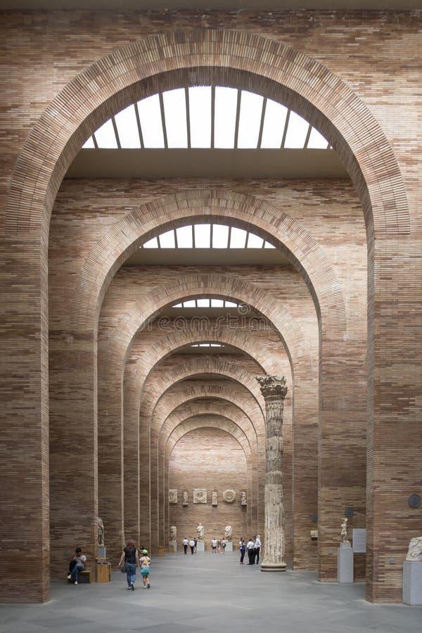 Piano principale del museo romano di Merida, Estremadura, Spagna immagine stock