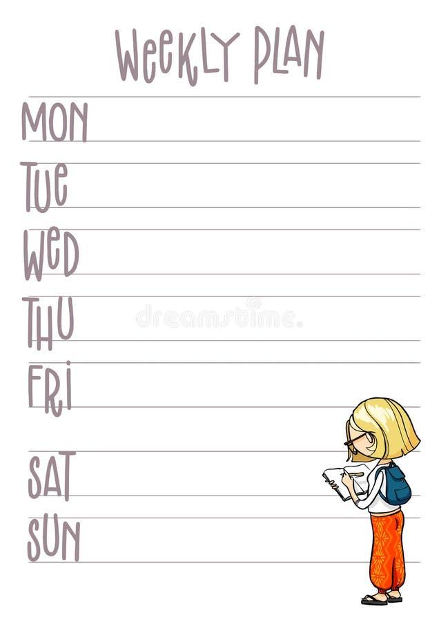 Piano settimanale Pianificatore con personaggio dei cartoni animati sveglio Modello stampabile dell'organizzatore di settimana di royalty illustrazione gratis