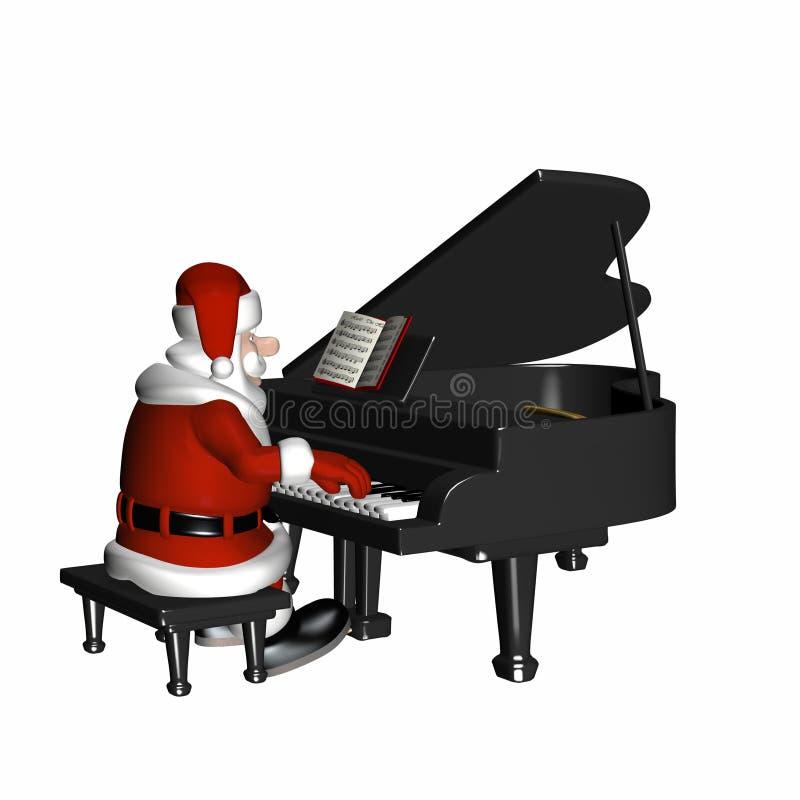 piano som leker santa royaltyfri illustrationer
