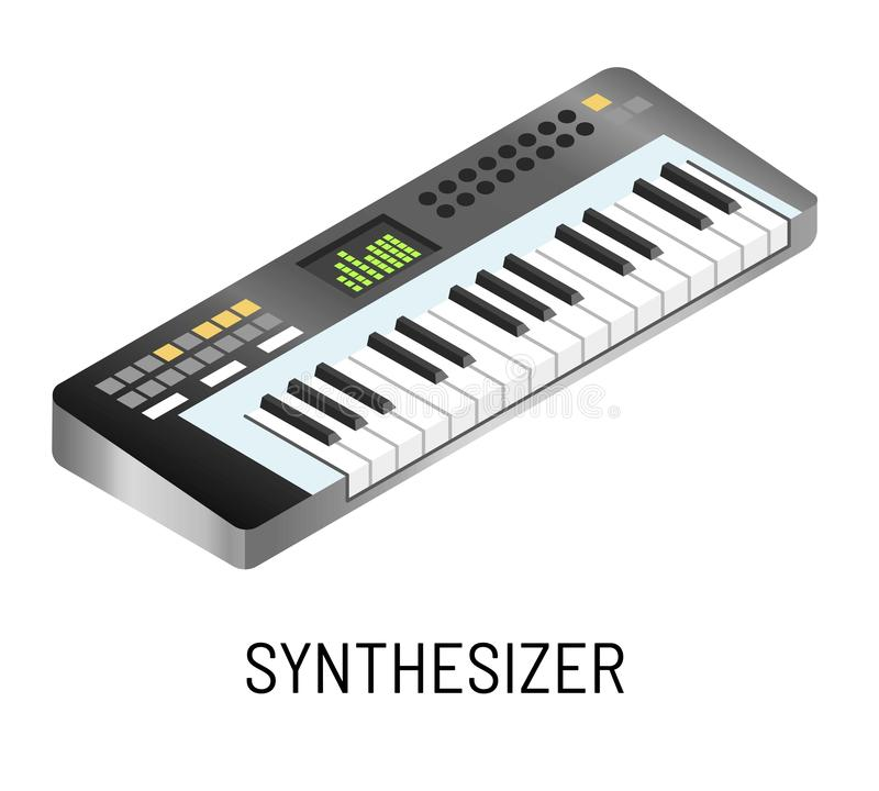 Piano or synthesizer electronic music playing isolated musical instrument. Electronic music concert synthesizer or piano playing vector musical instrument stock illustration