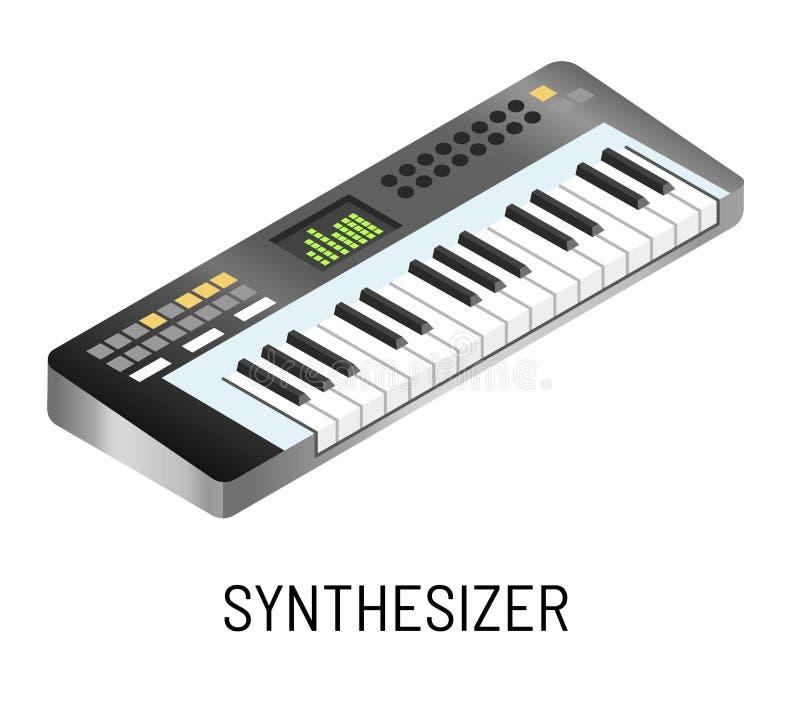 Piano of synthesizer elektronische muziek die geïsoleerd muzikaal instrument spelen stock illustratie