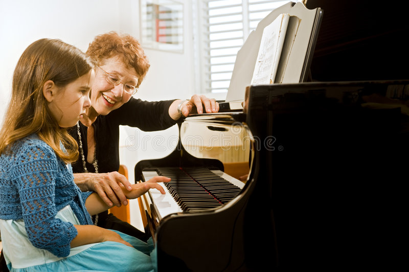 Download The piano teacher stock photo. Image of grandmother, older - 6582576