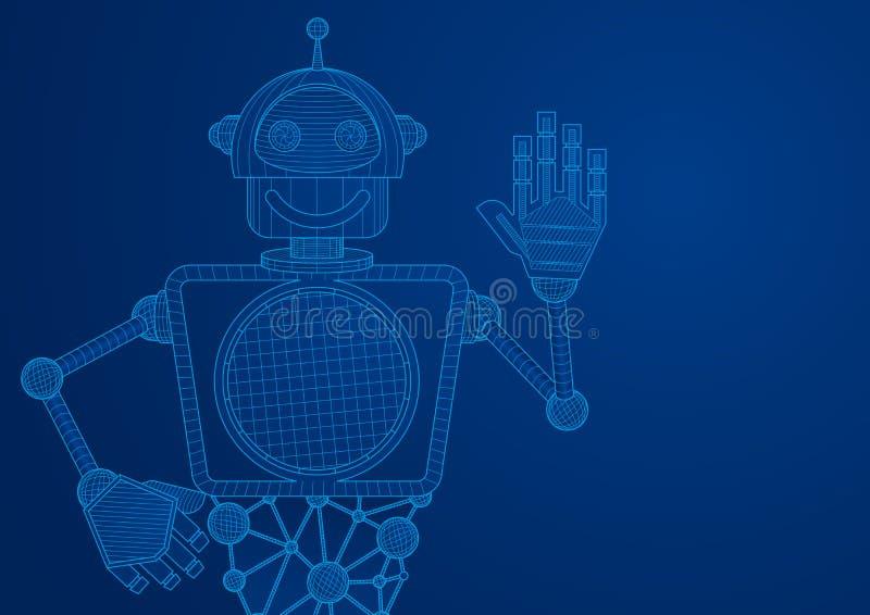 Piano tecnico di un robot visto dall'ondeggiamento anteriore con la mano illustrazione vettoriale